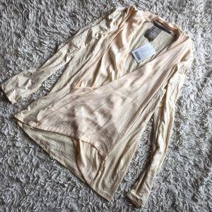 Long sleeve faux wrap shirt